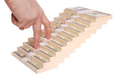 Hand and money staircase (Clipping path) Royalty Free Stock Photography