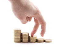 Hand and money staircase Stock Photography