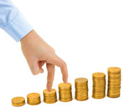 Hand and money staircase Royalty Free Stock Photo