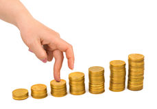 Hand and money staircase Stock Images