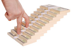 Hand and money staircase Stock Photos
