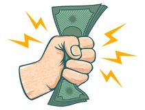 Hand and money. Vector illustration of a fist with money. Hand and money royalty free illustration
