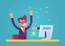 The hand from the monitor stretches a bag of money to a happy man. Concept of earnings on the Internet. Vector. The hand from the monitor stretches a bag of Royalty Free Stock Images