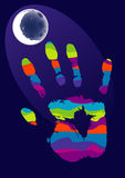 Hand and moon Royalty Free Stock Photography