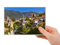 Hand and Mostar - Bosnia and Herzegovina my photo stock image