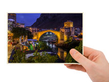 Hand and Mostar - Bosnia and Herzegovina my photo Stock Images