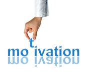 Hand with motivation word Stock Photo