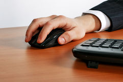 Hand with mouse. Hand on keyboard or with mouse royalty free stock photos
