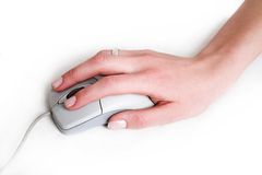 Hand with  mouse. Feminine hand with computer mouse Royalty Free Stock Images