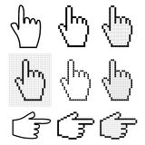 Hand mouse cursors. Set of 9 hand mouse cursors Royalty Free Stock Image