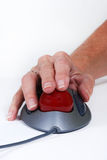 Hand on Mouse Trackball Royalty Free Stock Image