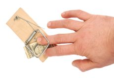 Hand and Mousetrap Stock Photos