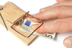 Hand and Mousetrap Royalty Free Stock Photo