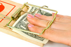 Hand and mousetrap with money. Isolated on white background Stock Images