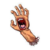Hand with mouth cartoon Royalty Free Stock Images