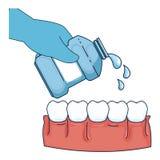 Hand with mouth wash bottle. Vector illustration design royalty free illustration