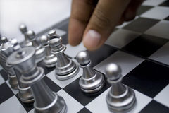 Hand move the chess Stock Photography