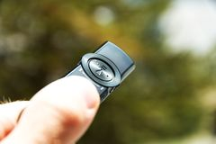 Hand with mp3 player Royalty Free Stock Image