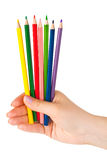Hand with multicolored pencils Royalty Free Stock Image