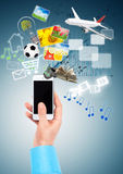 Hand and Multimedia phone Royalty Free Stock Images