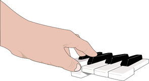 Hand and music keyboards Stock Image