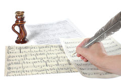 Hand and music sheet Royalty Free Stock Photography