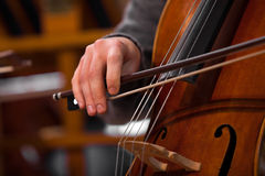 Hand of the musician playing the cello Royalty Free Stock Photo