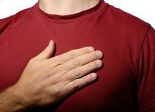 Hand on my heart Stock Photo