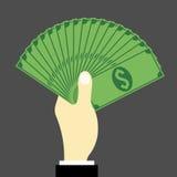 Hand mycket av pengar vektor illustrationer