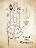 The hand of the Mysteries. The alchemical symbol of apotheosis, the transformation  Stock Image