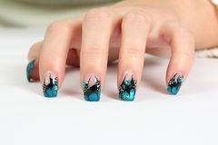 Hand with nail art Stock Images