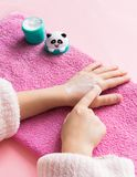 Hand and nail care for the child. Children`s manicure. View from above. royalty free stock photo