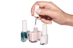 Hand nail polish French manicure set Royalty Free Stock Images
