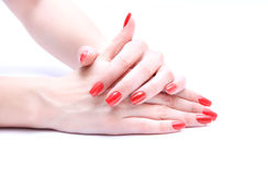 Hand with nail red Royalty Free Stock Photography