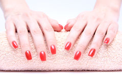 Hand with nail red Stock Photo