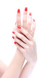Hand with nail red Royalty Free Stock Photos
