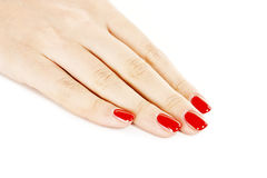 Hand with nail red manicure. On white background stock photos