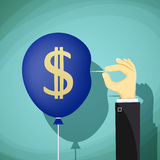 Hand with needle pierces the balloon. Dollar currency symbol. St Stock Images