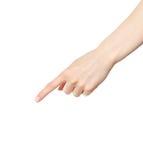 hand ner att peka kvinnan Royaltyfri Fotografi
