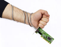Hand with a network card. Man's hand holding a network card Royalty Free Stock Images