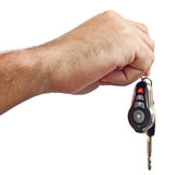 Hand with new car keys isolated on white Royalty Free Stock Photography