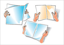 Hand with newspaper. Vector human hand with newspaper Stock Photography