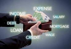 Hand nimmt Euro von der Geldbörse heraus Lizenzfreies Stockfoto