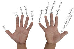 Hand with nine Fruits of the Holy Spirit Royalty Free Stock Photos