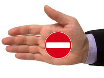 Hand with no entry sign Royalty Free Stock Images