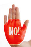 Hand with No sign!. Hand with sign no, concept stop violence/ abuse stock images