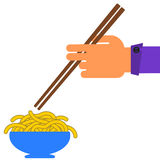 Hand and noodles Stock Images