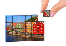 Hand and Norway (Trondheim) puzzle Stock Image