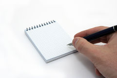 Hand notepad. Hand and blank notepad Stock Image
