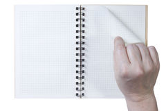 Hand notepad leaf flips Stock Photo